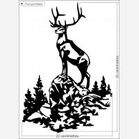 Décor animal - Le cerf en montagne